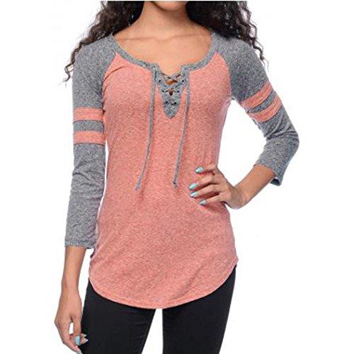 V-Neck Sweater Shirt,Hemlock Women's Long Jumper Shirt Lace Up Splicing Top Blouse (XL, Pink)