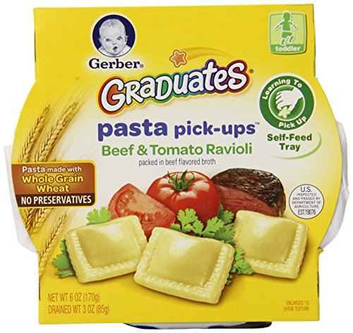 Gerber Graduates Pasta Pick-Ups Ravioli, Beef and Tomato, 6 Ounce Trays, 8 Count (Gerber Pasta Pickups compare prices)