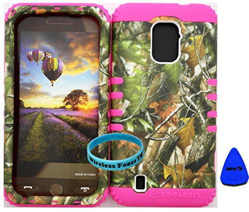 Wireless Fones Tm Zte Majesty Z796C Zte Source N9511 Tuff Impact Hybird Cover Case Mossy Camouflage Green Leaves On Pink Silicone Skin (Wireless Fones Tm Wristband & Pry Tool Included) front-905006
