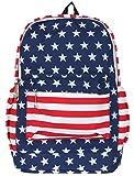 ililily US Flag Pattern Casual Day Pack Back Padded Big Pocket Back Pack (bag-037-1)