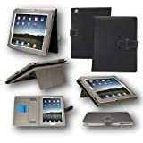 Black Leather Stand Case with Elastic Hand Strap For ipad Air
