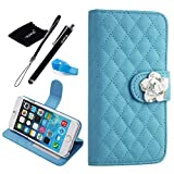 iPhone 6 Plus case, Camellia Diamond Crystal Designed with PU Leather Lady Style For Apple iPhone 6 Series (iPhone 6Plus(5.5-Inch), Blue)
