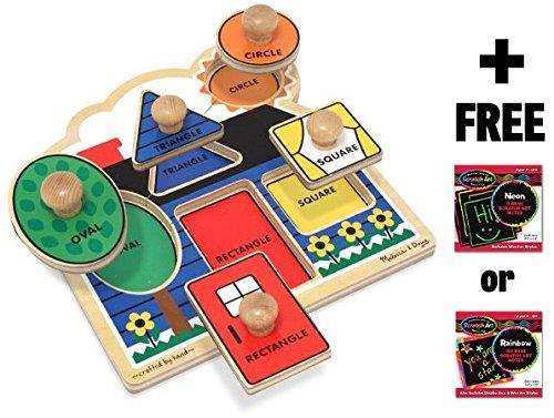 First Shapes 'Jumbo Knob' Puzzle + FREE Melissa & Doug Scratch Art Mini-Pad Bundle [20534]