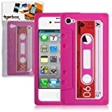 Tigerbox Retro Silicone Cassette Tape Style Case Cover Skin For Apple iPhone 4 / 4S With Screen Protector (Pink)