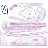 Sewing Tools - DIY Sewing Ruler Tailor Set French Curve Ruler Making Clothing Sample Yardstick Built-in Scale Drawing Rule Plastic Curve Stick (Color: Pink)