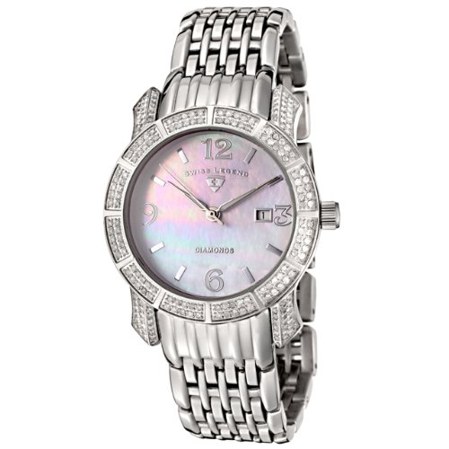 Swiss Legend Women&#8217;s 23024-WMOP Marquise Diamond Collection Stainless Steel Watch