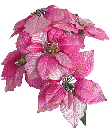 Ginni Bloom Artificial Poinsettia (Pink, 5 flowers bunch)