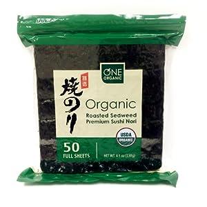 One Organic Sushi Nori Premium Roasted Organic Seaweed - 50 Sheets (4.5 oz)