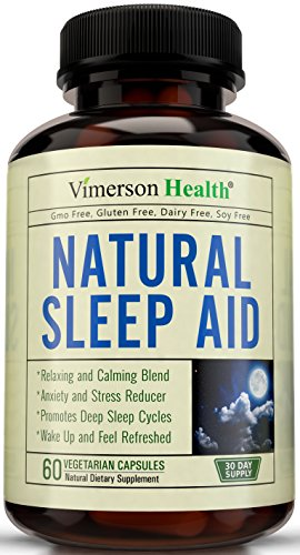 Natural Sleep Aid Supplement by Vimerson Health. Premium Quality Sleeping Pills with Melatonin, Chamomile, Vitamin B6, L-Tryptophan, Valerian, Ashwaganda, L-Taurine, St. John's Wort, Gaba, L-Theanine