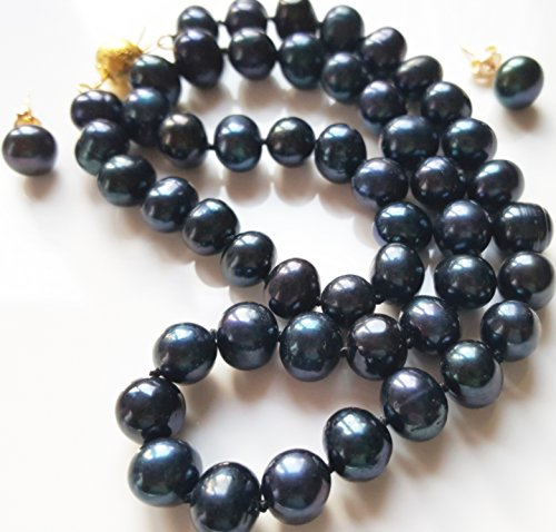 aaa-8-9mm-real-black-akoya-cultured-pearl-14k-gold-plated-clasp-necklace-earring-set-