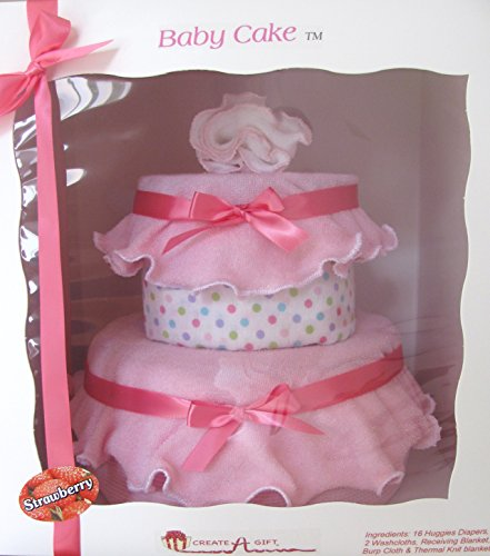 Create-A-Gift 2 Tier Girl Celebration Baby Cake Gift Set, Strawberry/Vanilla - 1
