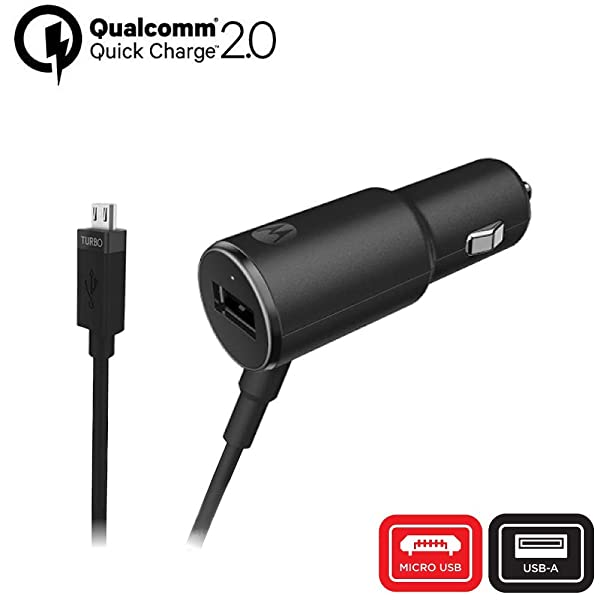 Motorola TurboPower 25 Rapid Charge Car Charger - Retail Packaging (Color: Black, Tamaño: 25W Dual Port)