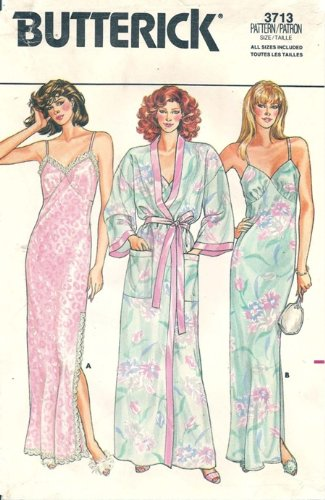 Butterick 3713 Misses Robe & Nightgown - All Sizes