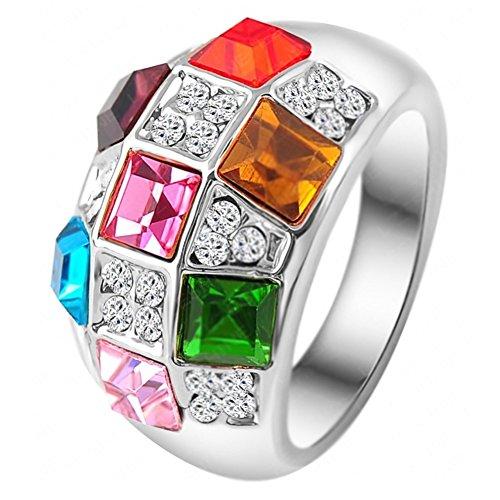 "RI06036C2-7 ""Beautiful Sunset"" Austrian Crystal 18K Ring"