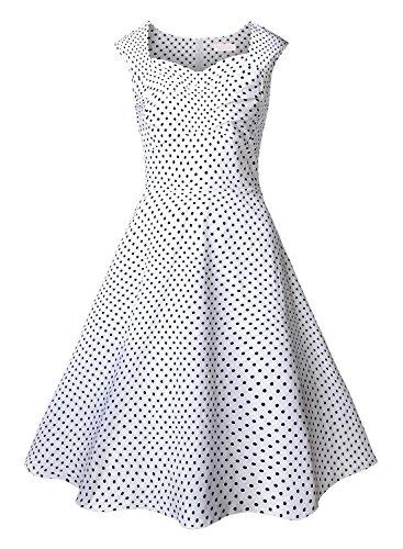 EA Selection Vestito Vintage svasato senza manica dress da cerimonia - Donna Bianco#1 Small