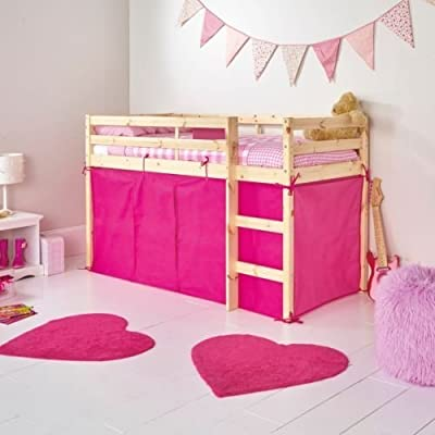 Bright Pink Tent For Shorty Mid Sleeper Bed Pink Girls Bedroom Toys Games Storage Tidy Girls Mid Sleeper Tent Pack for Bunk Bed by Chad Valley