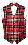 Men's Plaid Design Dress Vest NeckTie…