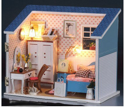 Big Dollhouse Miniature Diy Wood Frame Kit With Light Model Sweet Promise Gift Ldollhouse38-D92