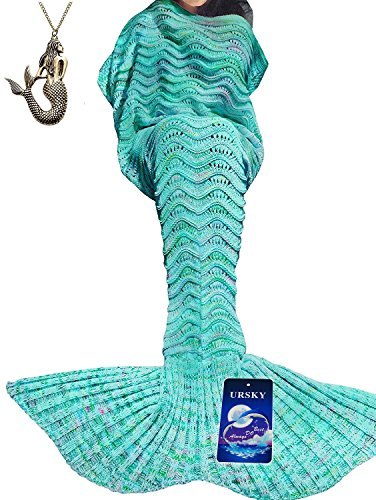 [URSKY Crochet Knitted Sofa Living Room Mermaid Tail Blanket, Cozy and Soft All Season Mermaid Tail Pattern Throw Sleeping Bag For Adult, Teens and Child 71
