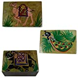 Craftuno Handcrafted Soapstone Box With Elephant, Camel& Peacock Painting Work - Set Of 3