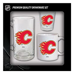 Calgary Flames 3 Piece Glassware Fan Set