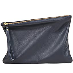 Leah Lerner Women Leather Clutch Denim Blue