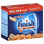 Finish All In 1 Automatic Dishwasher Detergent, Gelpacs, Orange Grease Cutting Scent, 20 gelpacs 14.3 oz (406 g)