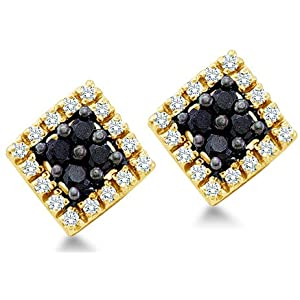 Click to buy Black Diamond Earring Stud: Black and White Round Brilliant Cut Diamond Earrings Square Setting from Amazon!
