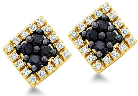 Black and White Round Brilliant Cut Diamond Earrings Square Setting