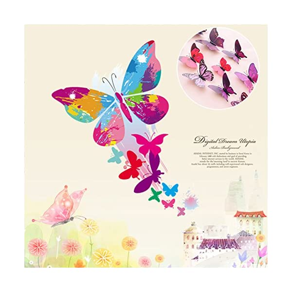 Uelfbaby 12 Pcs Beautiful 3d Butterfly Wall Decals Removable Diy