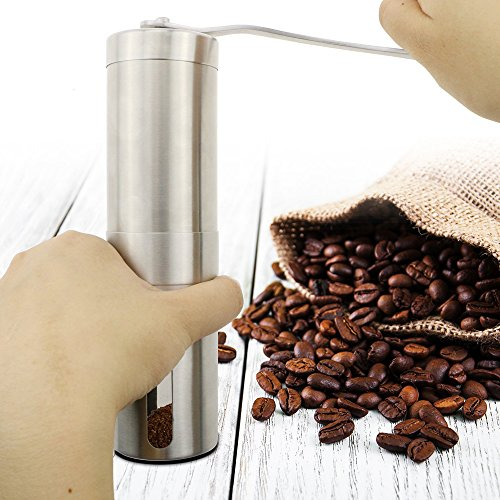 BeGrit Stainless Steel Manual Coffee Grinder with Ceramic Blade Stainless and Measuring Spoon