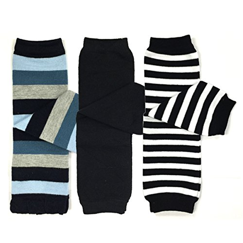 Bowbear 3 Pair Baby and Toddler Leg Warmers, Blue and Black Stripes Approximately 12 inches long