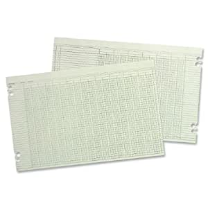 Wilson Jones Green Columnar Ruled Ledger Paper, Double Page Format, 30 Columns and 36 Lines per Page, 11 x 17 Inches, 100 Sheets per Pack (WG50-30A)