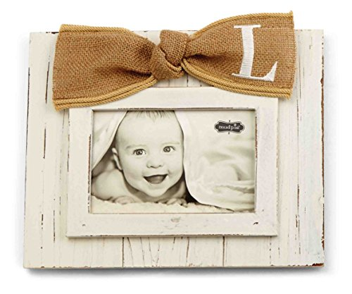 Mud Pie Planked Monogram Bow Frame, L - 1