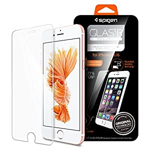 iPhone 6 Screen Protector, Spigen® iPhone 6 Glass Screen Protector [3D Touch Compatible- Tempered Glass] Most Durable[Easy-Install Wings] Rounded Edge [Life Warranty] - Glas.tR SLIM (SGP11829) by Spigen