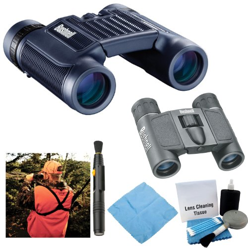 Bushnell H2O 12X25 Black Folding Binoculars With Bushnell Powerview 8X21 Binoculars + Bino Caddy And Accessory Bundle