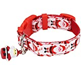 Itery Soft Adjustable Nylon Small Dog Cute Collar with Santa Claus Pattern and Bells (Small, Santa Claus)