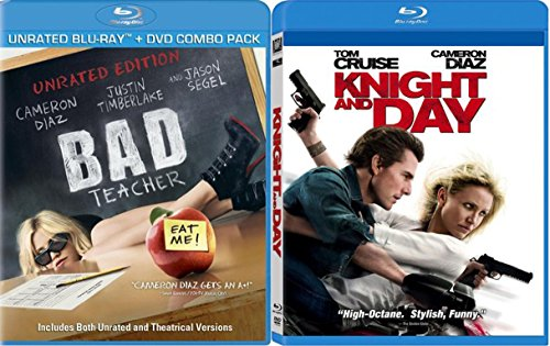 Knight and Day + Bad Teacher Blu Ray Cameron Diaz Fun Action Comedy movie Set Combo Edition