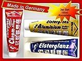 Elsterglanz 3er SET 150ml XXL Tube Chrom,Universal,Aluminium Politur, Paste