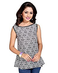 LGI Adorning Black & White Coloured Top, Fabric - Reyon (1T047-BK-M, Black, Medium)