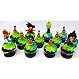 Dragon Ball Z 12 Piece Random Birthday Cupcake Topper Set Featuring 12 Random Dragon Ball Z Character Figures