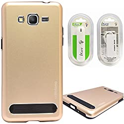 DMG Motomo Ultra Tough Metal Shell Case with Side TPU Protection for Samsung Galaxy Grand Prime G530H (Gold) + 2600 mAh Power Bank