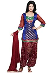 Utsav Fashion Women's Royal Blue Chanderi Brocade And Dupion Silk Jasmine Pant With Kameez-Medium