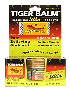 Tiger Balm Ultra Strength Pain Relieving Ointment/Sports Rub (Non-Staining) 0.63 Oz. (18g) Jar - 3 boxes