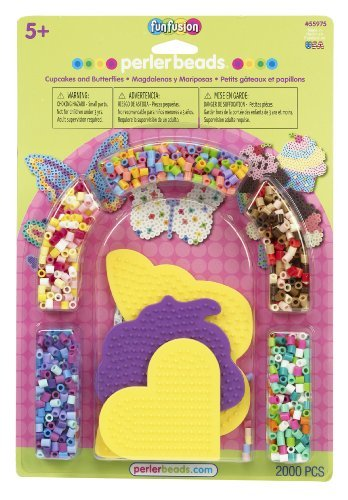 Includes 2000 Beads, Small Heart, Butterfly, And Cupcake Pegboards, Ironing Paper, And Instructions - Perler Beads Cupcakes and Butterflies Fused Bead Kit