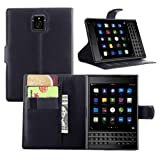 Ultra Slim Flip Bracket Cover Case for BlackBerry Passport - Premium Soft PU Leather [ Wallet ] Case Cover for BlackBerry Passport (Wallet - Black)