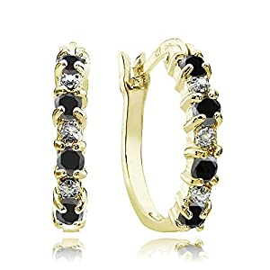 Gold Flash Sterling Silver Black Ebony Sapphire & Diamond Accent Hoop Earrings
