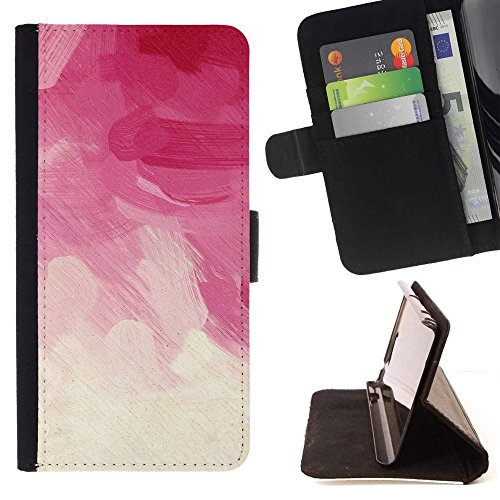 For Sony Xperia Z5 Compact Z5 Mini (Not for Normal Z5) Case , Rosa Brush Strokes vignetta floreale Nuvole - Portafoglio in pelle della Carta di Credito fessure PU Holster Cover in pelle case