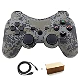Molgegk Wireless Bluetooth Controller for PS3 Double Shock - Bundled with USB Charge Cord (Camouflage1) (Color: Camouflage1)