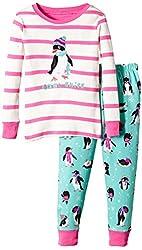 Hatley Little Girls' Pajama Set Applique Pretty Penguins